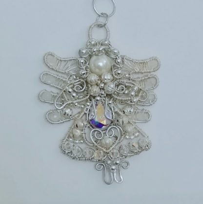Silver Angel suncatcher with gemstones and crystals white background