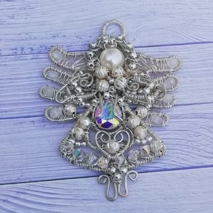 Silver Angel suncatcher with gemstones and crystals flat