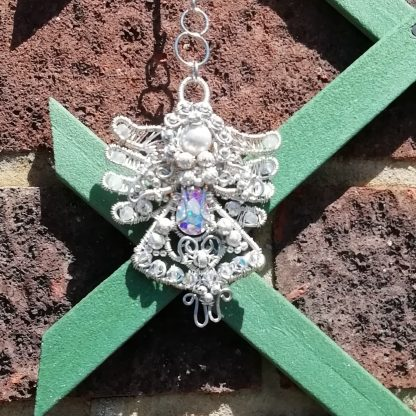 Silver Angel suncatcher with gemstones and crystals on trellis