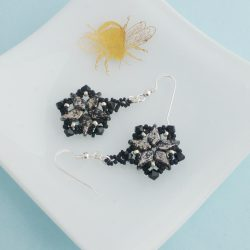 Black and SIlver Handmade Earrings