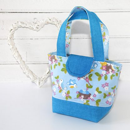 Blue toy tote bag with heart