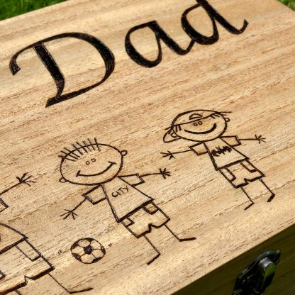 Dad wooden box stick figures