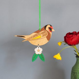goldfinch hanging decoration wooden bird painted