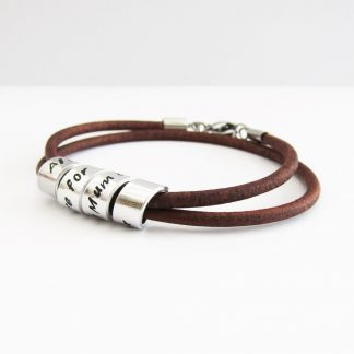personalised hidden message leather wrap bracelet