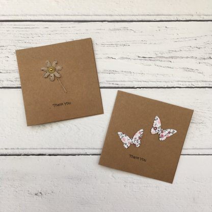 Crofts Crafts mini thank you cards - brown flower and floral butterflies