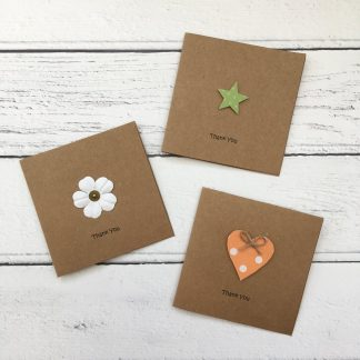 Crofts Crafts mini thank you cards - white flower, heart and star