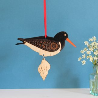 oyster catcher hanging decoration wood painted shell etchablelaserdesign