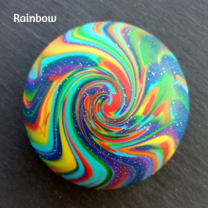 Handmade rainbow worry pebble for stress and anxiety relief