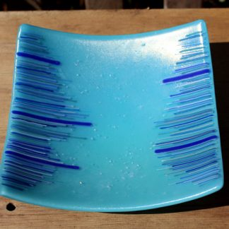 turquoise square bowl with line design