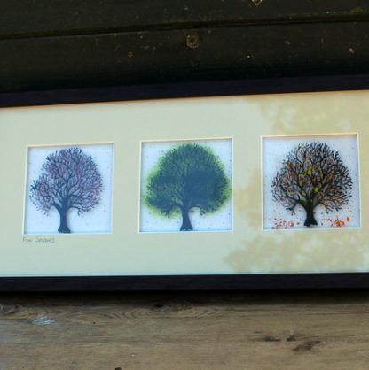 close up of 3 trees, framed