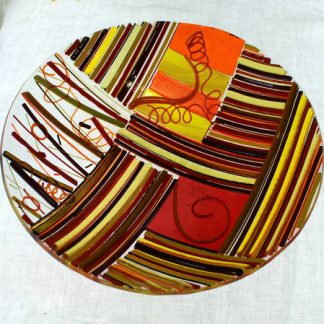 Zany fused glass bowl, hot colours
