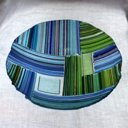 green and blue stripy bowl