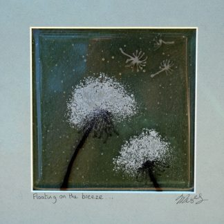 2 dandelion heads, framed glass art