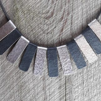 16in snake chain necklace with six silver and five oxidized hammered strips each 20mm by 8mm
