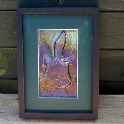 framed glass, colourful hare