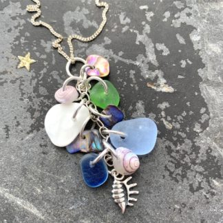sea glass, shells and pottery pendant necklace