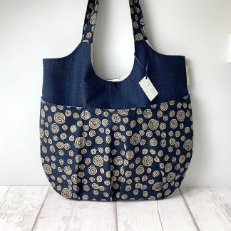 Relaxed Tote Bag - Navy Spirals