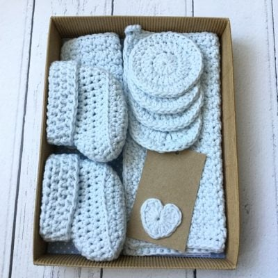 Crocheted gift set for baby boy