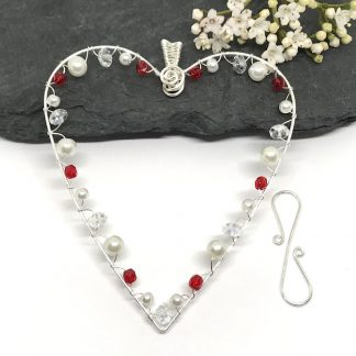 Silver Hanging Heart Decoration With Red Crystals and Pearls