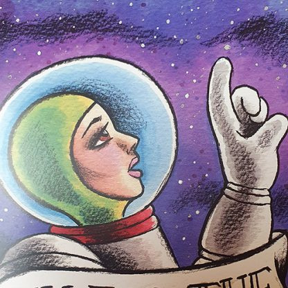 Close up of Aim For the Stars greetings card, by Mel Langton Art
