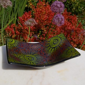 Large bowl with Aborigine art inspired pattern