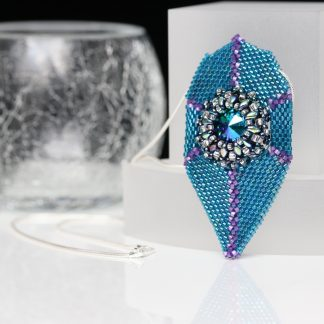 Beaded Pendant in Teal and Violet