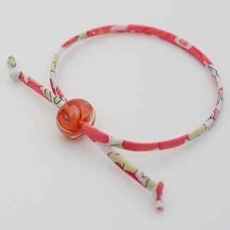 Coral bracelet with coral and yellow handmade bead
