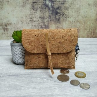 Vegan cork fabric coin and card wallet