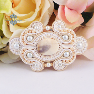 Cream barrette. Handmade hair accessory MollyG Designs