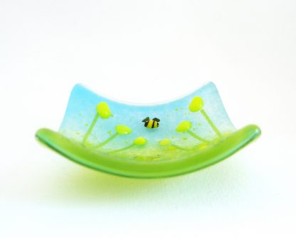 Yellow flowers, fused glass trinket bowl, ring dish