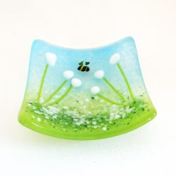 White flowers, fused glass trinket bowl, ring dish