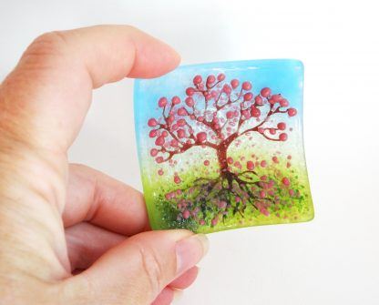 Pink blossom tree, fused glass bowl, tree of life