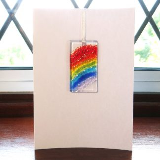 Fused glass greeting card with gift - Rainbow light catcher
