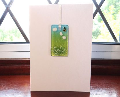 Fused glass greeting card with gift - white flowers light catcher with bee
