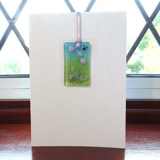 Fused glass greeting card with gift - violet purple flowers light catcher with bee