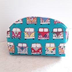 Make up bag, camper van fabric in pretty colours, opensxwide for easy access