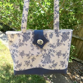 Blue floral shopping tote