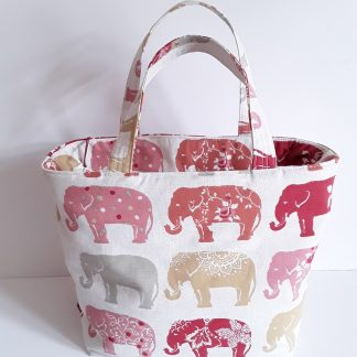 Handbag, small shopping bag in cute in gorgeous Indian elephant print fabric with zip fastening and pocket