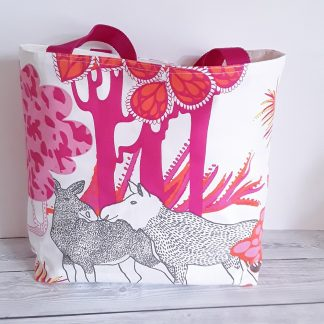 Shopping bag with elks, pink and orange, reverses to plain cream