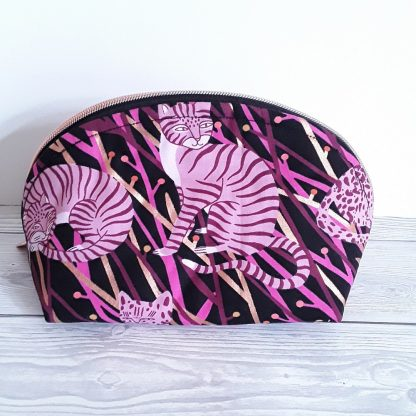 Make up bag in pink and gold big cats, donned shape, all round zip