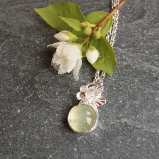 Silver and prehnite botanical necklace