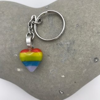Rainbow heart keyring