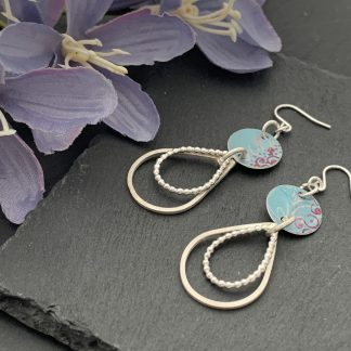 turquoise and pink print earrings with sterling silver drop