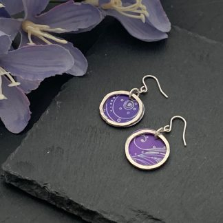 purple aluminium and sterling silver drop earrings