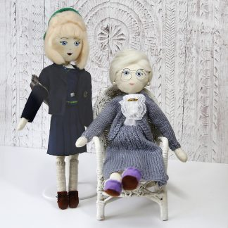schoolgirl and grandmother memory dolls