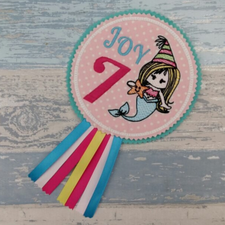 Personalised Mermaid Sketch Birthday Badge