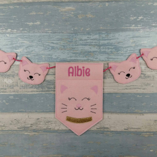Personalised Bunting Banner for Cat Lovers in Pink