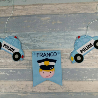 Personalised Policeman and Police Car Wall Bunting Garland Hanging Flag