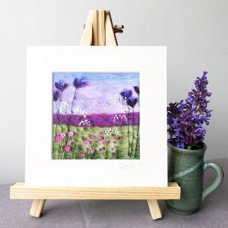 Scottish Wool Art Landscape Print Purple Floral