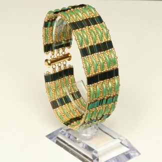 Slinky Green and Gold Cuff Bracelet